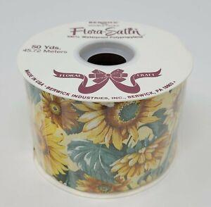 "NEW Berwick Flora-Satin Yellow Sunflower Floral Craft Ribbon 2-3/4"" x 50 YDS"