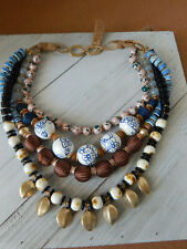 ANTHROPOLOGIE NECKLACE 4 STRAND MULTI COLOR BEAD PAINTED CERAMIC  GLASS $88