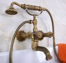 Antique Brass Carved Wall Mounted Clawfoot Bath Tub Faucet Handshower sna222