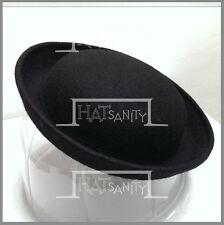 Wool Felt Mini Bowler Hat Women Fascinator   Black Gray Red Green Blue Burgundy