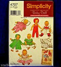 Simplicity 4707 Cute Baby Doll Clothes SEWING Pattern 7 Design 3 sz new uncut