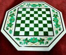Chess Game Marble Table Top Malachite Inlay Work Home Decor And Gifts