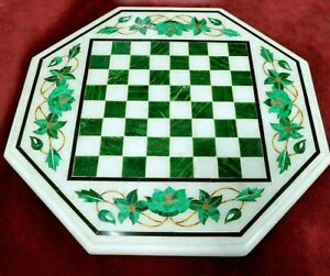 """12"""" Chess Game Marble Table Top Malachite Inlay Work Decor And Gifts"""