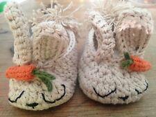 Patucos Bebe Zapato Bebe Recién Nacido Conejito Nuevo Artesanal Croche 0/3 Beige