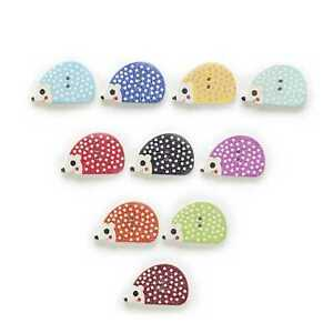 30pcs Hedgehog Series Wood Buttons for Sewing Scrapbooking Handmade Crafts Decor