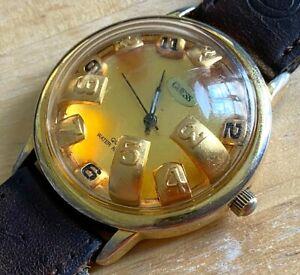 Vintage GUESS Men Gold Tone Bubble High Dome Analog Quartz Watch Hour~New Batter