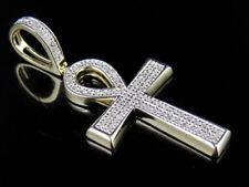 "Unisex 10k Yellow Gold Pave Genuine Diamond Ankh Cross Pendant Charm 0.25ct 1.4"""