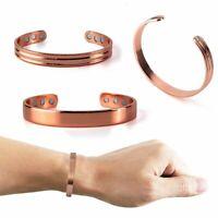 Copper Magnetic Bracelet Men Women Arthritis Pain 6 Magnets Cuff Gold New USA