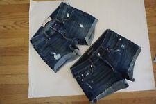 Lot 2 Hollister Abercrombie Fitch Women's Blue Jean Shorts Juniors 1 25w Faded
