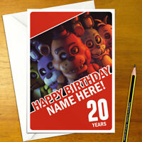 FIVE NIGHTS AT FREDDY'S Personalised Birthday Card - fnaf personalized scary