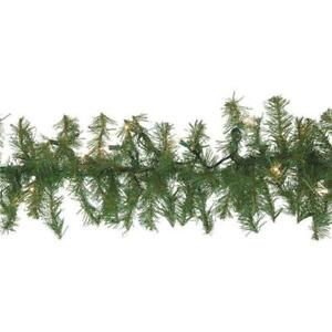 12-Lighted Clear 50 Bulb 9 Ft. Christmas Canadian Pine Decorate Garland 437301