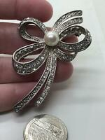 Bow Marcasite with Pearl Vintage Silver Pin Brooch D-5221