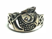 Awesome Unisex SOLID STERLING SILVER Infinity Celtic Knot Dragon Ring - Size 9