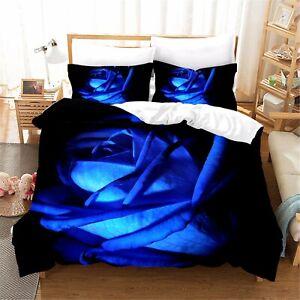 3D Blue Rose Print Bedding Set Duvet Cover Comforter Cover Pillow Case