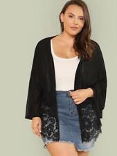 NEW..Stylish Plus Size Black Jacket Kimino Cardigan with Lace Detail.SZ18-20/1XL
