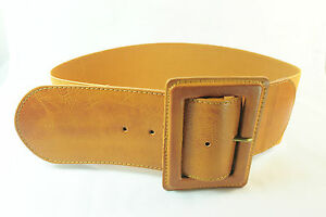 TAN FAUX LEATHER BROWN WIDE COWGIRL LOOK BELT UNIQUE (UW4)