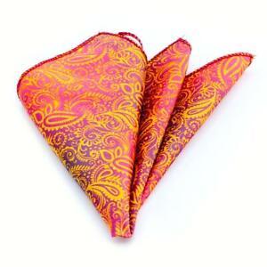 Orange & Blue Paisley Mens Pocket Square - Premium Silk Handkerchiefs for Suits