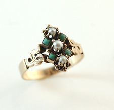 Victorian Turquoise Seed Pearl Ring 14k Yellow Gold Size 9.5