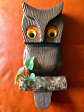 Vintage Green Mountain Owl Wooden Wall Art Plaque Wood Excellent Condition