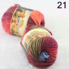 Sale Lot of 2 Skeins New Knitting Yarn Chunky Colorful Hand Wool Wrap Scarves 21