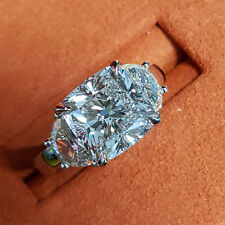 Platinum 3-Stone 3.11 Ct Cushion Cut Half Moon Diamond Engagement Ring I,VS2 GIA
