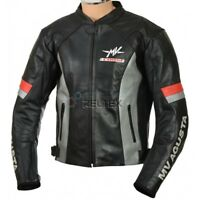 MV AGUSTA CORSE Black GREY Motorbike Motorcycle Armored CE Leather Biker Jacket