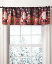 Santa Reindeer Window Valance Country Christmas Snow Flake Bear Pine Cone Plaid