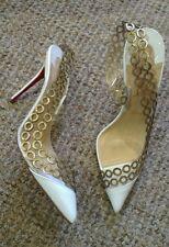 Rare $995 white Christian Louboutin Malaika d'orsay gold chain heels 37 4 new