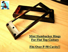 Mini Humbucker Pickup Rings (conversion P-90) Black Flat Top