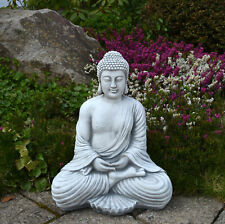 Großer massiver Stein Buddha Mönch Tempelwächter aus Steinguss frostfest