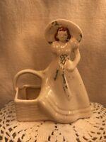Vtg 1940's USA Brush Pottery Southern Belle Lady Girl Hat & Basket Planter Vase