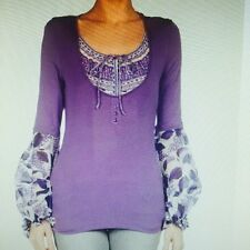 JUST CAVALLI T-SHIRT VIOLA MANICHE IN VOILE TG 46