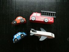 Lot of 4 ~ Wooden Vehicle Toys ~ Police/Fire/Plane/Auto VGUC