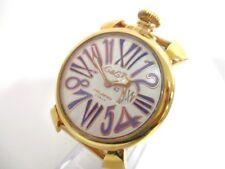 Auth GAGA MILANO Manuale 46 White Gold 18143 Men's Wrist Watch