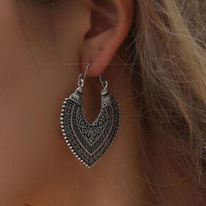 Heart Earrings Ethnic Tribal Aztec Hippy Boho Dangle Statement Silver Tibetan UK