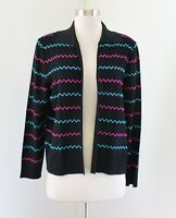 Ming Wang Black Pink Blue Striped Knit Open Front Cardigan Sweater Jacket Size S