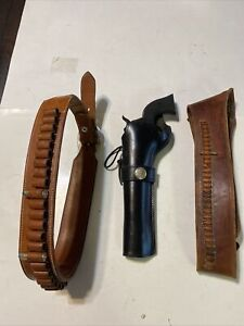 2 Western Ammunition Belts,45&22 Cal.  1 Holster, 45  Colt, 44 Cal Navy?? Used