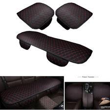 Universal 3x Auto Sitzkissen Sitzbezug vorne+hinten PU Ledertasche schwarz / rot