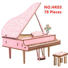 Piano Model 3D Wooden Puzzle Kids Toy DIY Games Jigsaw Assembly Girls Gift