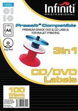 Infiniti A4 Matt CD Label (100) Preminum Quality Labels 50 sheets - 100 labels