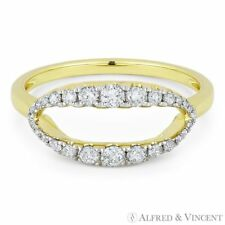 Yellow Gold Open-Oval Right-Hand Statement Ring 0.13 ct Round Diamond Pave 14k