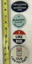 4 Vintage Budweiser Campaign Pins Buttons Free Shipping!