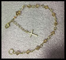 Handcrafted Gold Rosary Bracelet MADE WITH Swarovski Golden Shadow Crystals