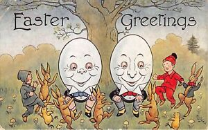 Lot221 greetings easter children and rabbit dancing big egg human attitude uk