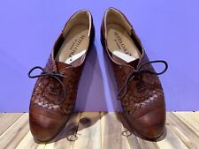 Sesto Golf By Sherry Womens Shoes Size 7 Brown Leather Woven Cap Toe Italian