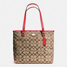 BNEW  COACH F36375 Zip Top Signature Tote Bag - khaki/cardinal