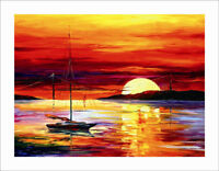 CXPT481 100% hand-painted seascape sun arise from east art oil painting canvas