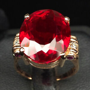 TOPAZ HOT RED OVAL 22.60CT.SAPP RUBY 925 STERLING SILVER ROSE GOLD RING SZ 7.25