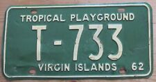 Virgin Islands 1962 TROPICAL PLAYGROUND License Plate # T-733