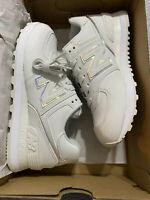 VERY HTF New Balance 574 Women's Running Sneakers Size 6.5, White & Iridescent!